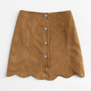 Dresses & Skirts - Scallop Hem Single Breasted Suede Skirt